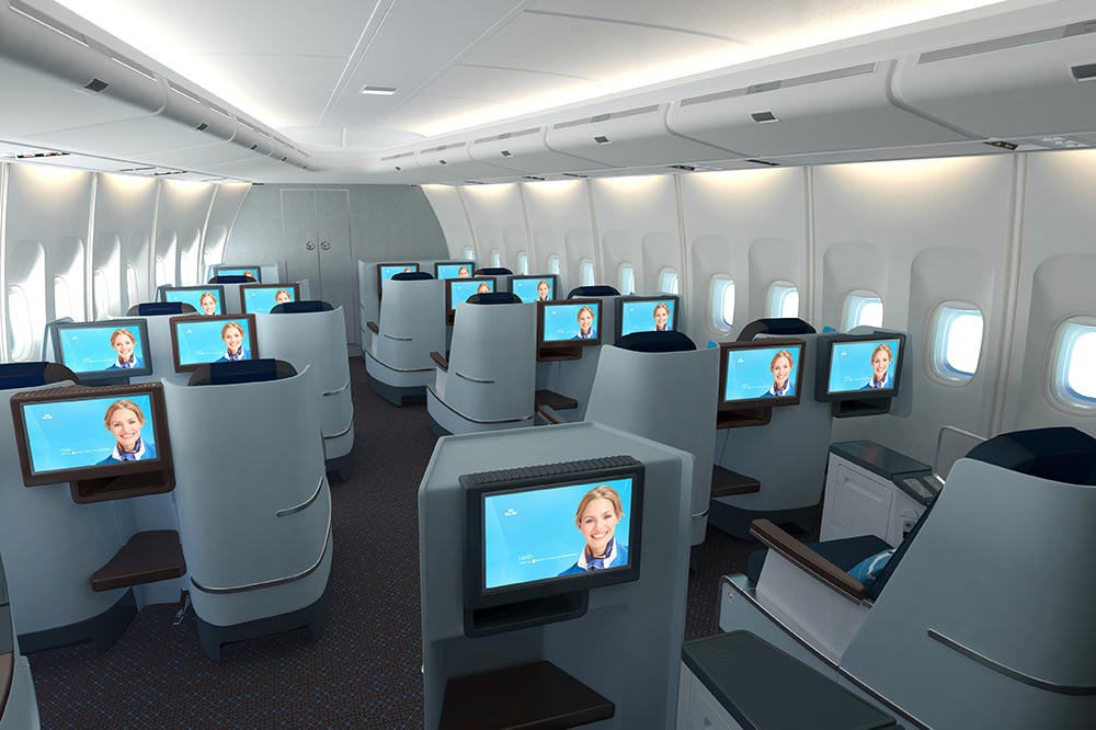 KLM Business Class cabin on the Boeing 747