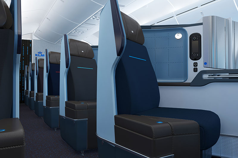 KLM Business Class seat on the Boeing 787