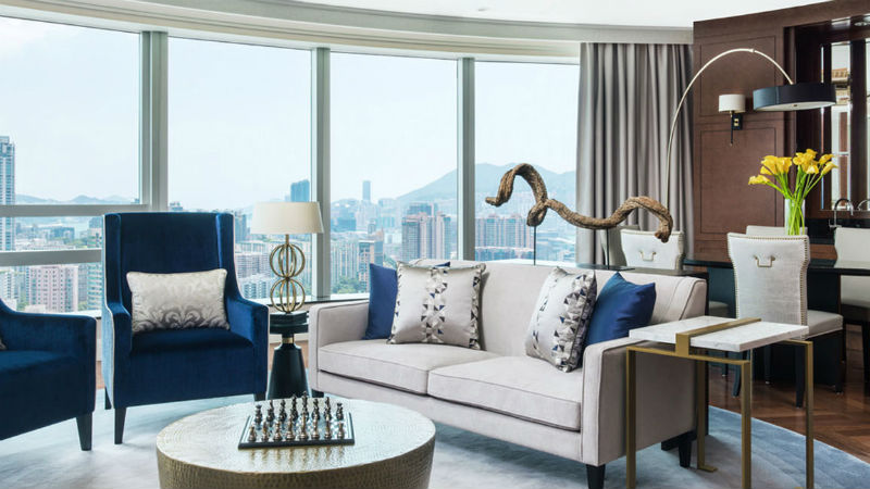The Chairman suite at the Cordis Hong Kong hotel showing the full rooms and stunning views of Hong Kong