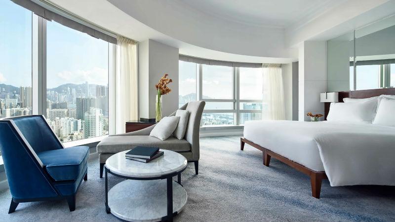 The Club Studio room at the Cordis Hong Kong showing views of Hong Kong skyline