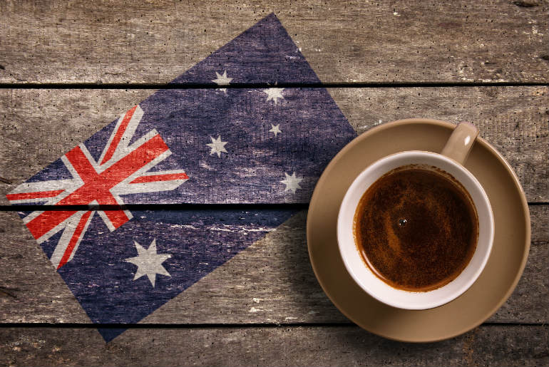 Coffee with Australian flag on a wooden frame