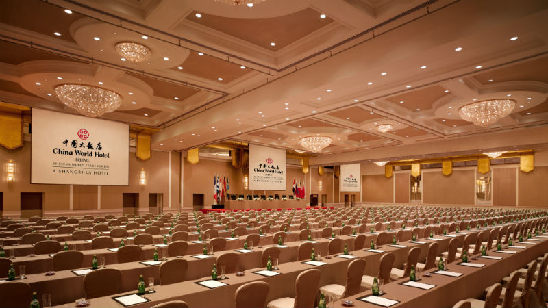 The large Conference Hall at the China World Hotel