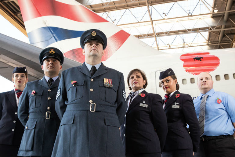 The Crew for British Airways in front of the B747