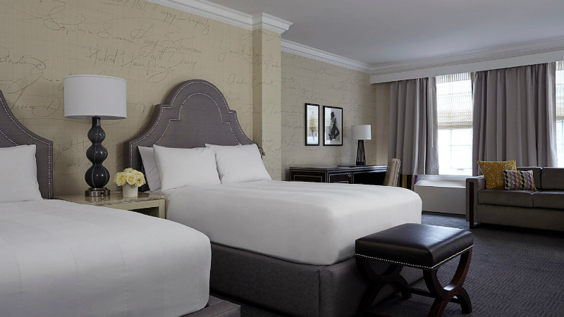 Twin beds in a Deluxe Larger Room at the Mayflower Hotel in Washington D.C.