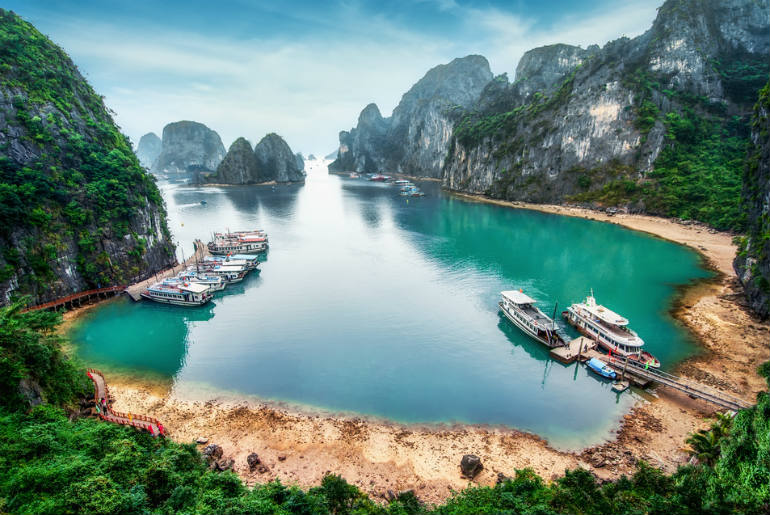 Halong Bay with a view of mountains, islands and sea