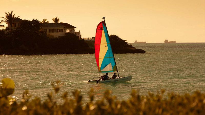 Hobie-cat sailing, at Blue Waters Antigua
