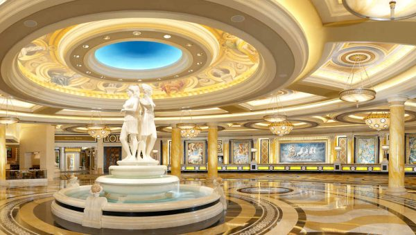 Marble Roman statues in the lobby of Caesars Palace in Las Vegas