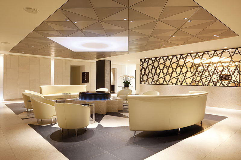 Luxurious Qatar Airways business class lounge at London Heathrow