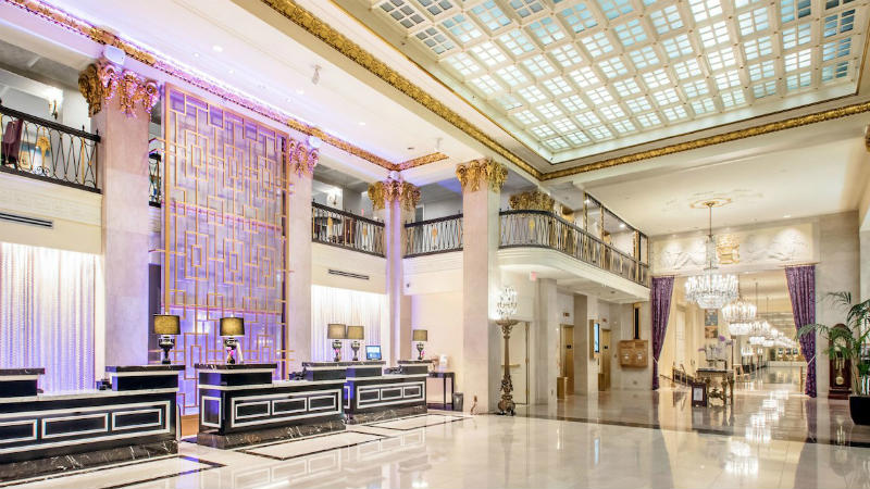 Purple light main lobby to The Mayflower Hotel Autograph Collection