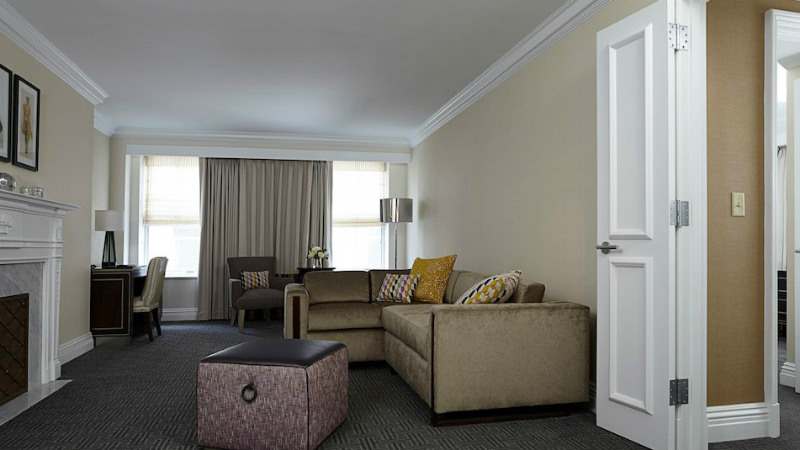 Living room in a One Bedroom Suite at the Mayflower Hotel in Washington D.C.