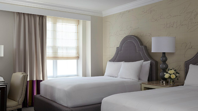 Twin beds in a Premier Room at the Mayflower Hotel in Washington D.C.