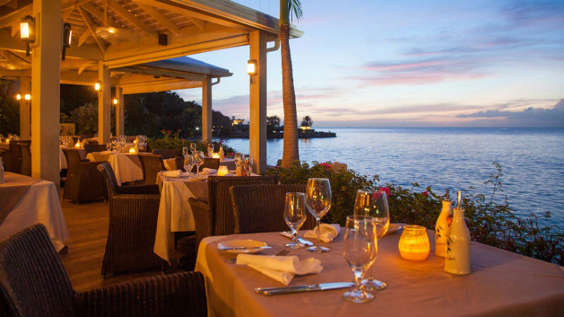 Restaurant dining in the evening, at Blue Waters Antigua
