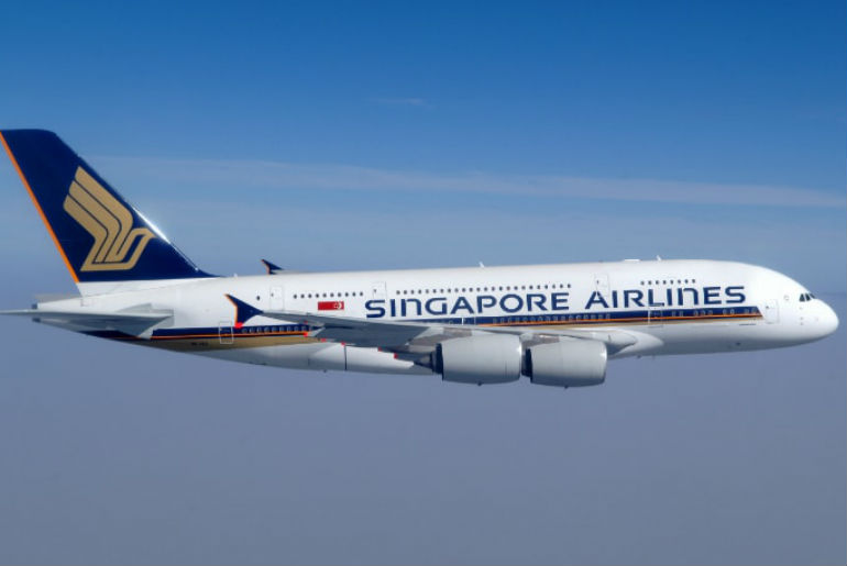 Singapore Airlines plane from a side view