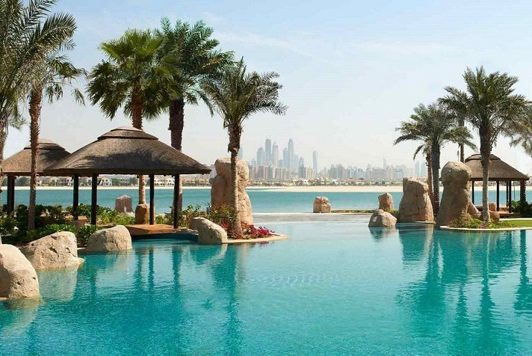 View of the pool at the Sofitel Hotel, Dubai
