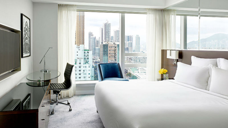 The Superior room at the Cordis Hong Kong showing bedroom view