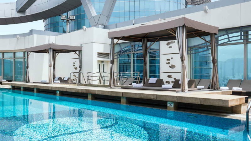 The roof top wellness pool at the Cordis Hong Kong