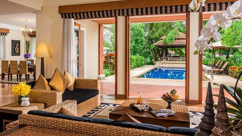 Living room and private pool of the Angsana Grand Pool Residence at Angsana Laguna Phuket