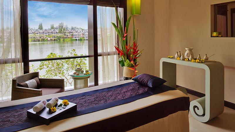 Treatment table overlooking the lagoon at Angsana Laguna Phuket