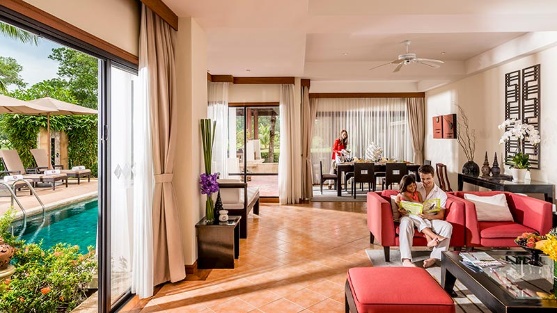Living room and private pool of the Angsana Pool Residence at Angsana Laguna Phuket