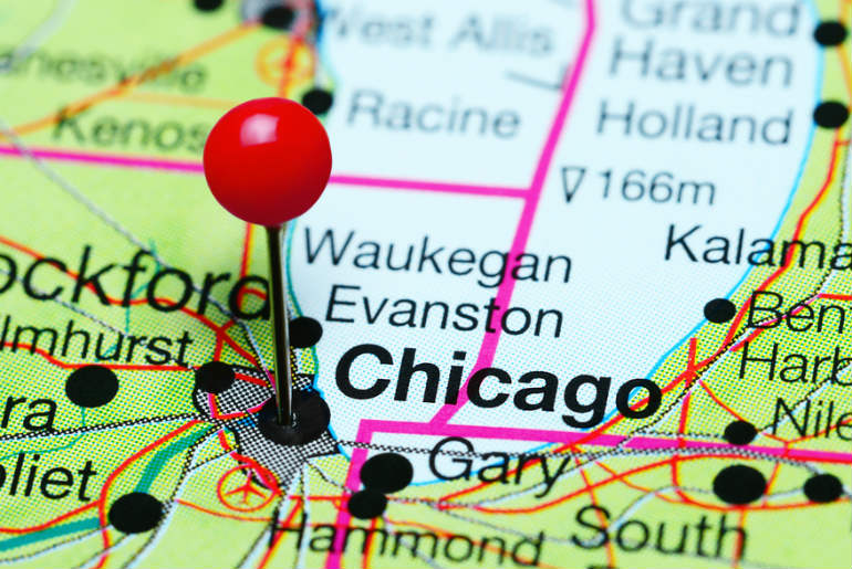 A Map of Chicago with a pin marking the spot