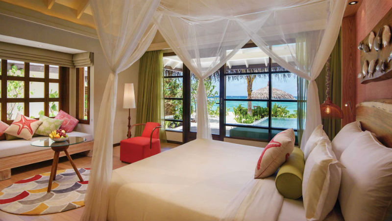 Deluxe Beach Villa with Pool Bedroom Oblu Sangeli Maldives