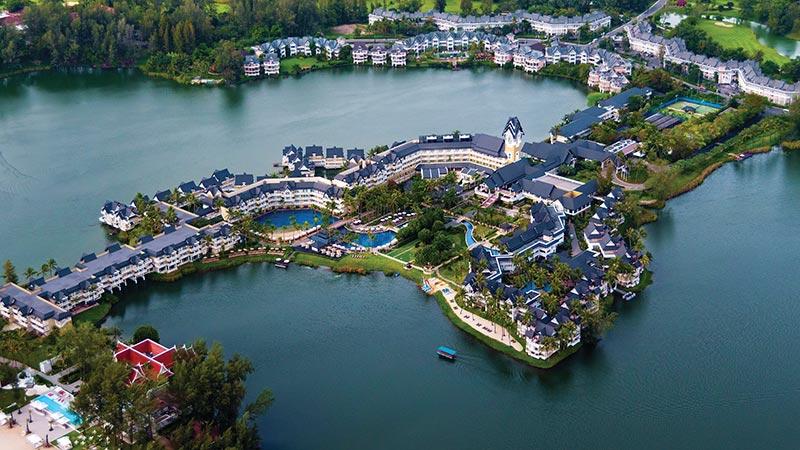High aerial view of the resort at Angsana Laguna Phuket