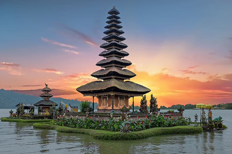 Temple on a lake at sunset in Bali