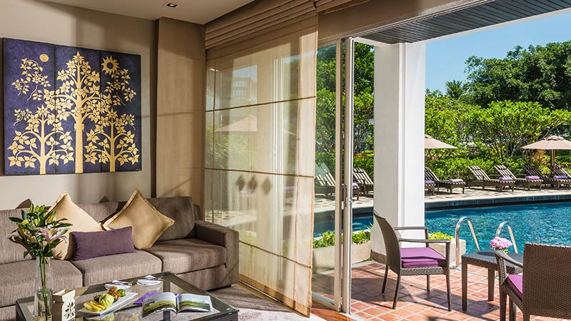 Living room and terrace of the Two Bedroom Island Suite at Angsana Laguna Phuket