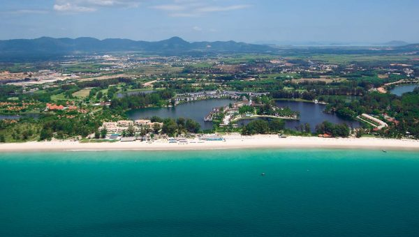 View of the beach at Angsana Laguna Phuket Resort from the air
