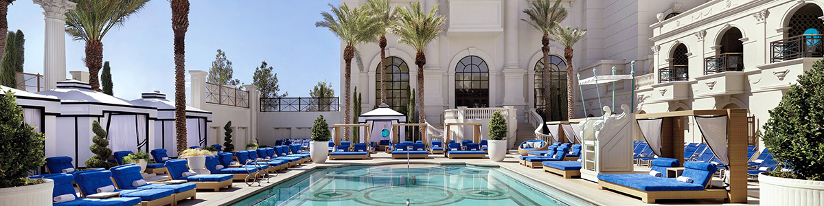 Sun lounges around the Apollo Pool at Caesars Palace in Las Vegas