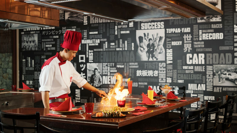The chef at the Benihana restaurant Anantara Riverside Bangkok Resort