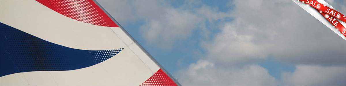 Tail of a BA plane with a sale banner