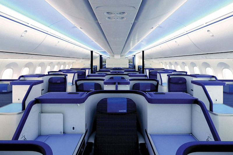 Interior of the ANA business class cabin