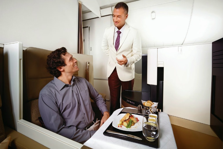 Passenger served a meal in Etihad Business class