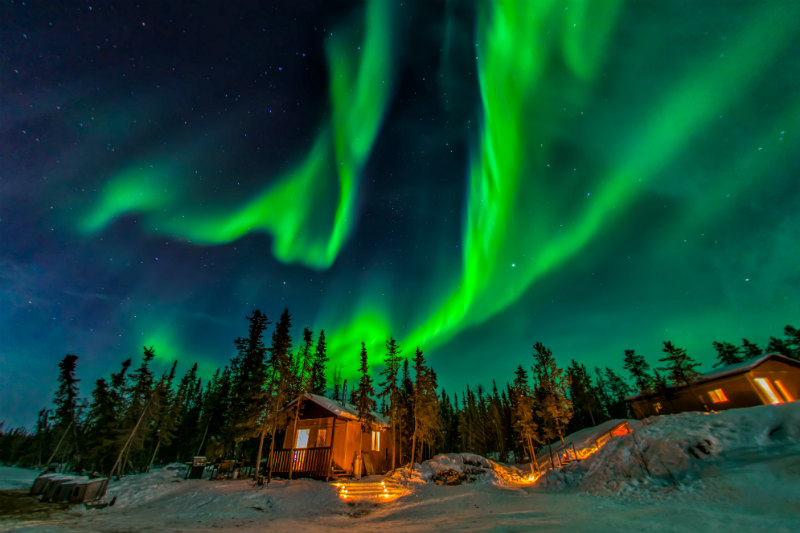 The northern lights over a forest cabin in Yellowknife in Canada
