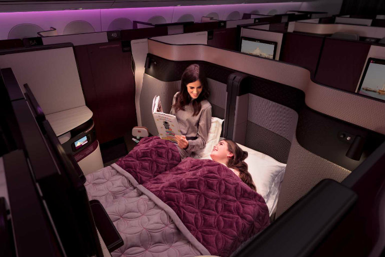 Showing the QSuite on Qatar business class
