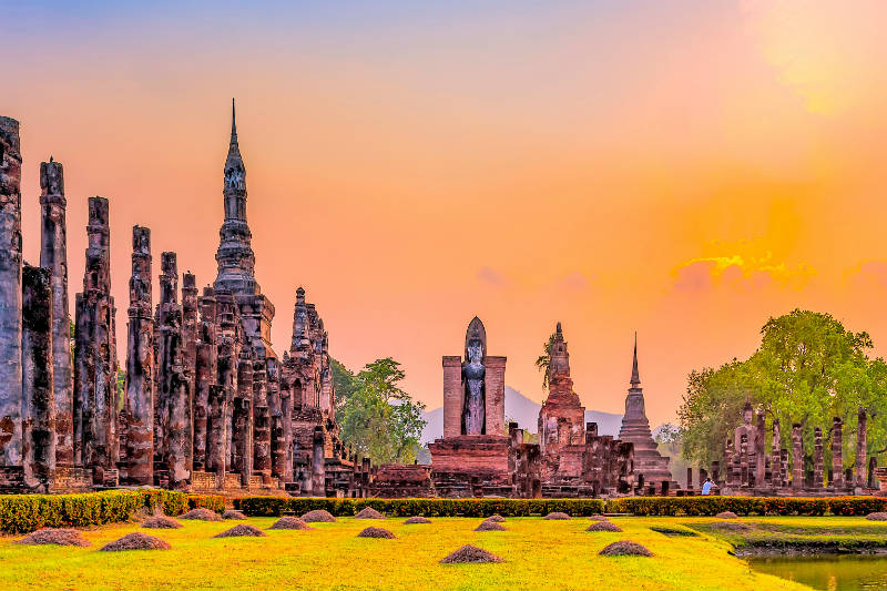 Ancient ruins at Sukhothai Thailand