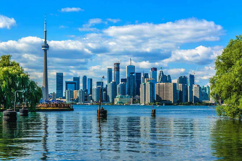 View of the Toronto skyline from across the lake