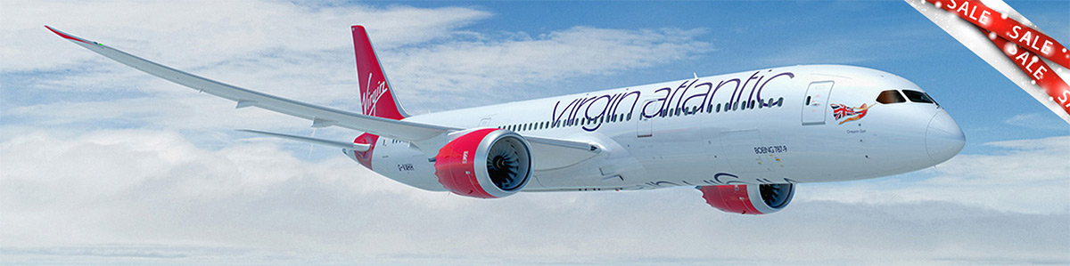 Virgin Atlantic 787 Dreamliner with sale banner