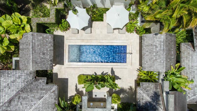 Aerial pool view, Coral Reef Club Barbados