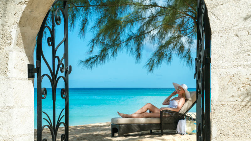 Beach and lounger view, Coral Reef Club Barbados