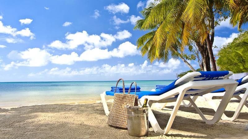 Sun lounges on the Caribbean beach at St James