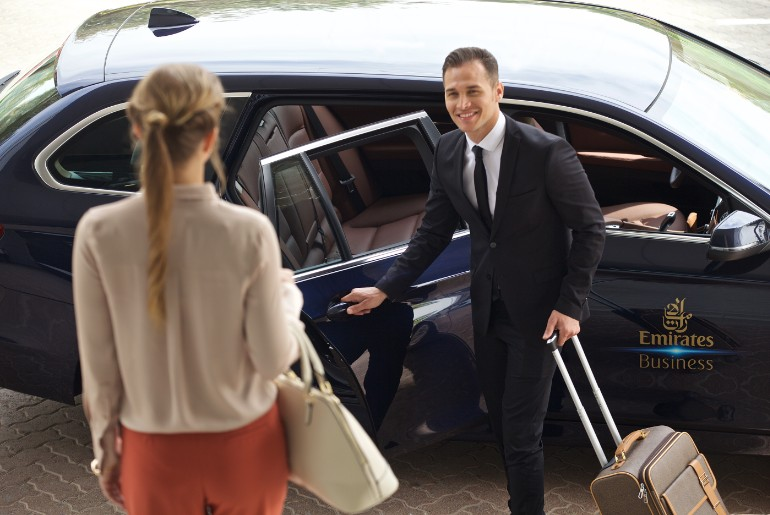 Emirates Chauffeur picking up a emirates business class passenger