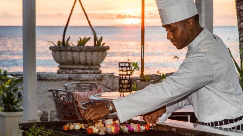 Chef cooking, Coral Reef Club Barbados
