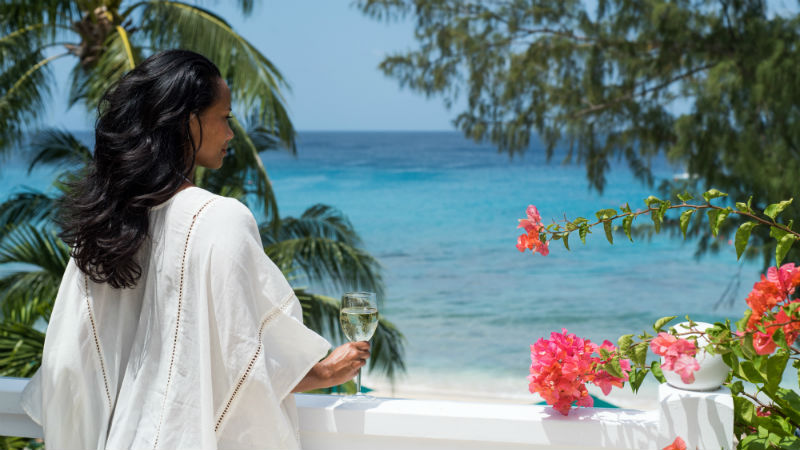 Woman looking out to sea, Coral Reef Club Barbados