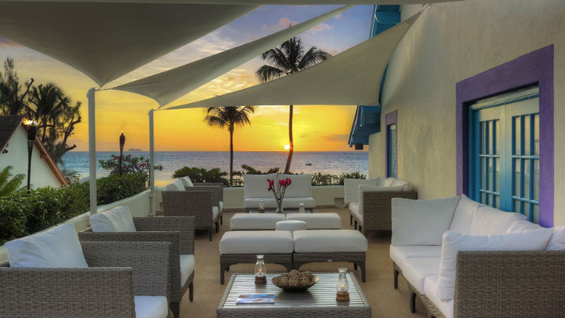 Beach restaurant at the Crystal Cove by Elegant Hotels over looking the sea