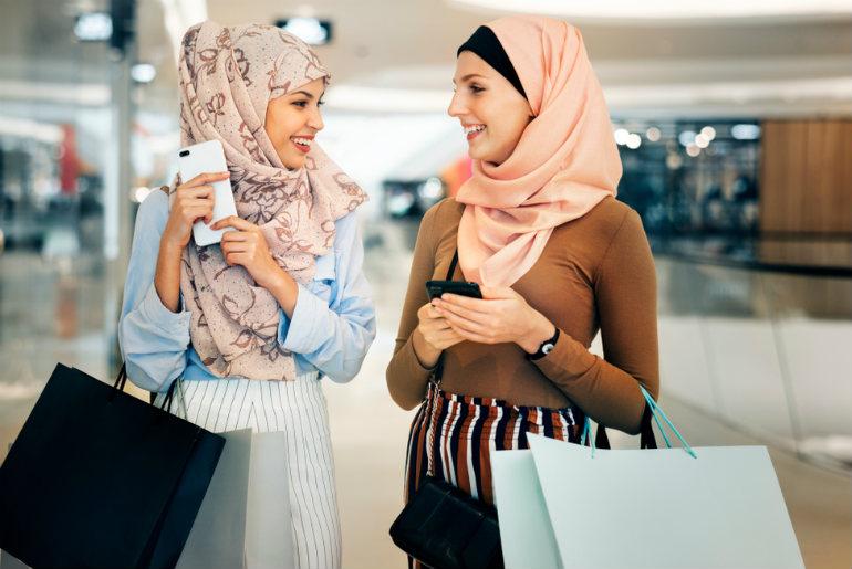 Two ladies shopping at Dubai Airport