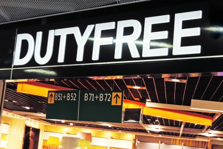 A giant duty free sign at the airport