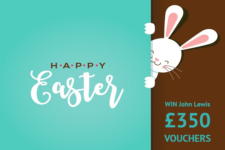 Happy Easter sign with bunny and voucher giveaway
