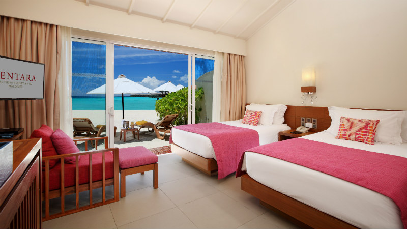 Ocean Front Beach room at the Centara Ras Fushi Resort and Spa Maldives